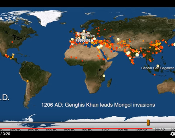Vignette de l'actualité This map visualizes the history of urban settlements over 6 000 years
