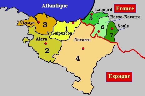Carte pays basque français et espagnol   Mes prochains voyages